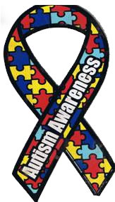 An autism awareness banner filled with puzzle pieces.