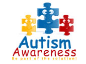 An autism awareness logo made of puzzle pieces