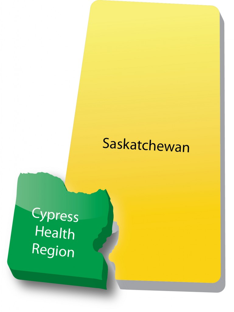 Map showing Cypress Health Region boundaries within Saskatchewan boundaries.