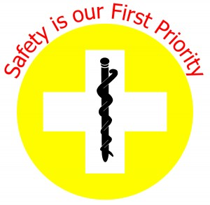 Patient Safety logo of the Cypress Health Region. A yellow circle with a white cross in the middle and the Rod of Asclepius in the cross.