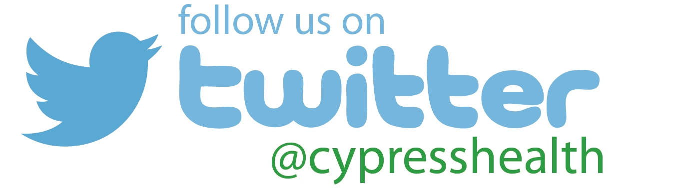 Twitter logo with Cypress Health