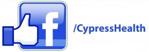 Facebook logo slash Cypress Health.